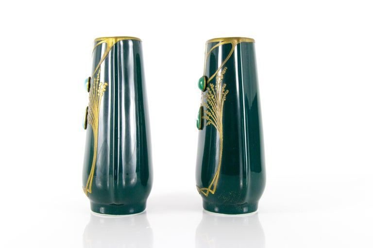 Pair of Art Nouveau Green Ceramic Vases Decorated with Glass Stones For Sale 3