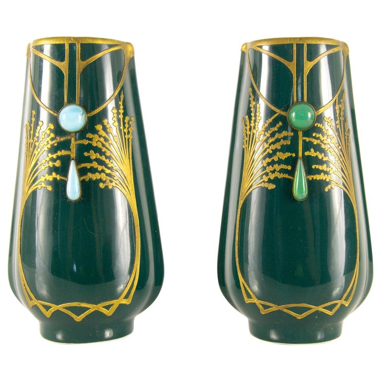 Pair of Art Nouveau Green Ceramic Vases Decorated with Glass Stones For Sale