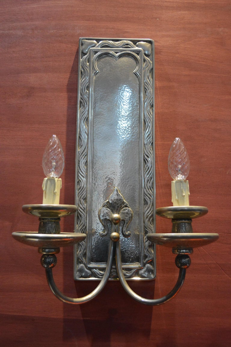 Double branched hammered silver plated bronze sconces, 
