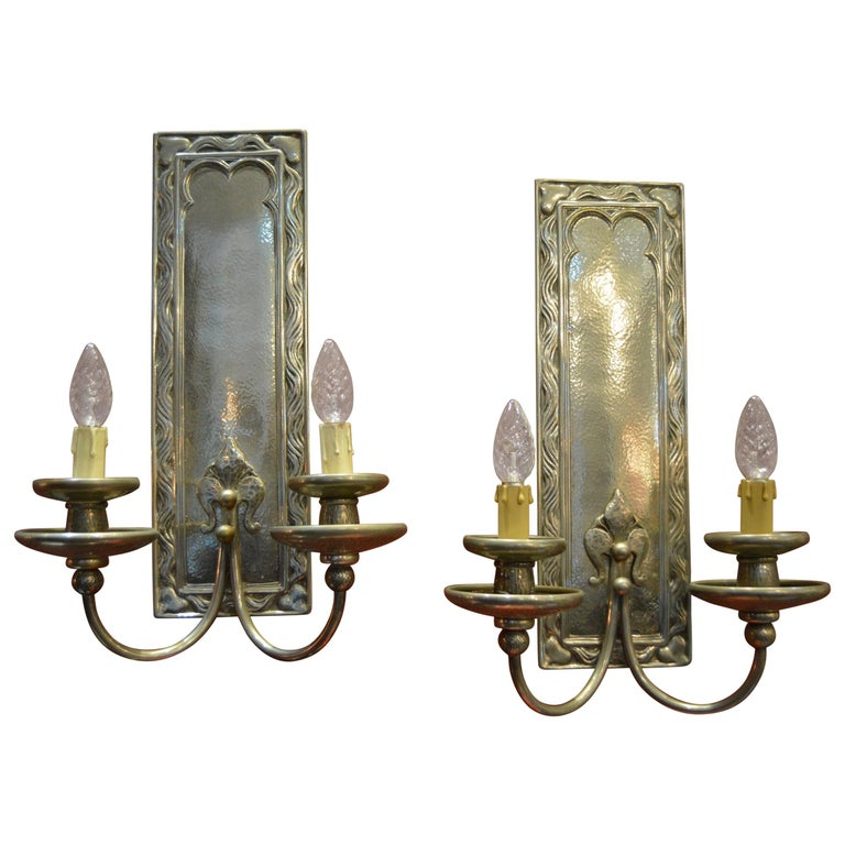 Pair of Art Nouveau Hammered Silver Plated Bronze Wall Light For Sale