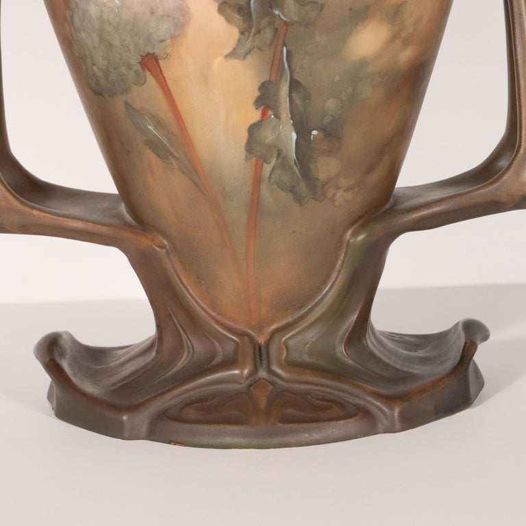 Early 20th Century Pair of Art Nouveau Hand Painted Sculptural Ceramic Vases by Royal Bonn For Sale