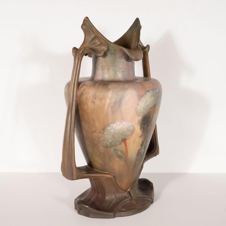 Pair of Art Nouveau Hand Painted Sculptural Ceramic Vases by Royal Bonn For Sale 1