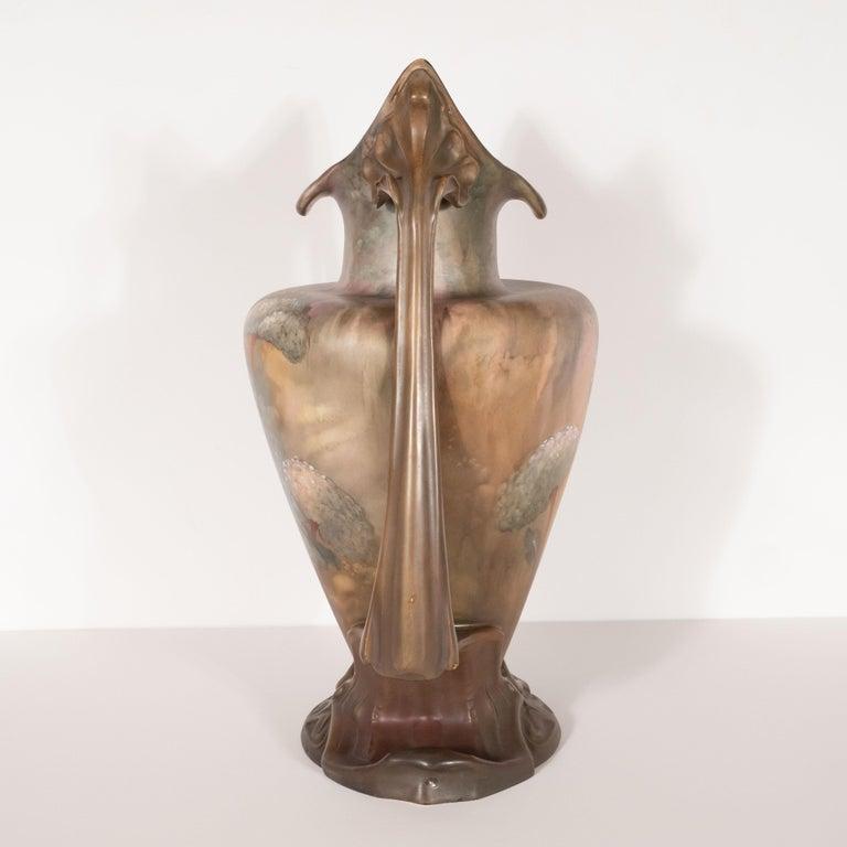 Pair of Art Nouveau Hand Painted Sculptural Ceramic Vases by Royal Bonn For Sale 2