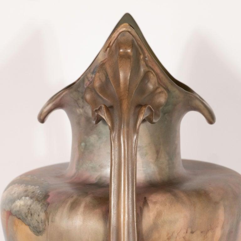 Pair of Art Nouveau Hand Painted Sculptural Ceramic Vases by Royal Bonn For Sale 3