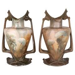 Pair of Art Nouveau Hand Painted Sculptural Ceramic Vases by Royal Bonn