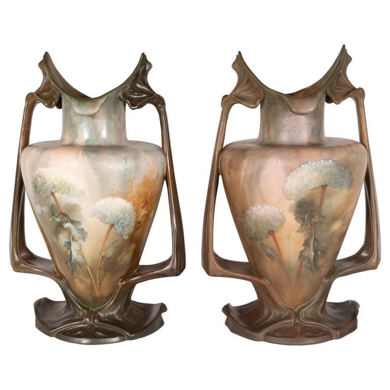 Pair of Art Nouveau Hand Painted Sculptural Ceramic Vases by Royal Bonn For Sale