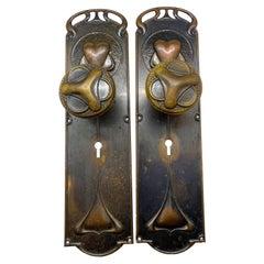 Pair of Art Nouveau Interior Doorknobs and Doorplates