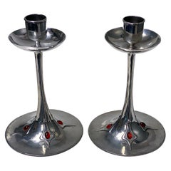 Pair of Art Nouveau Jugendstil Pewter Candlesticks, circa 1910