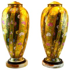Pair of Art Nouveau Lamps by the Fischer Hungarian Porcelain Factory