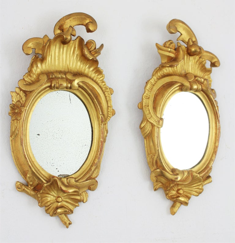 Pair of Art Nouveau Left and Right Gold Leaf Giltwood Mini Sized Mirrors For Sale 3