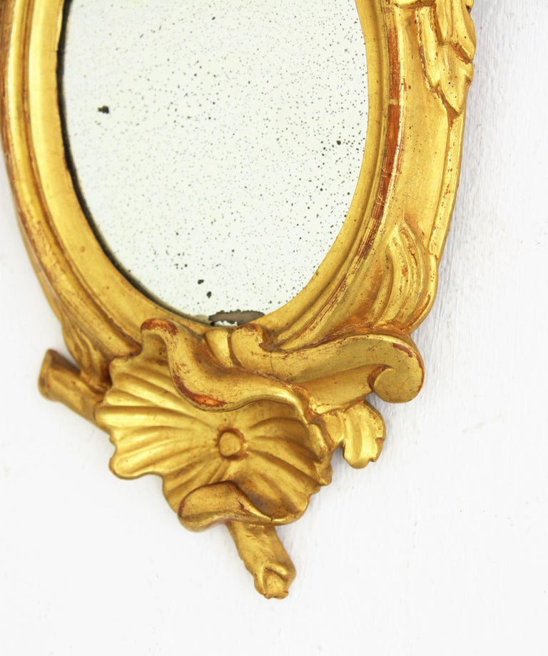 Pair of Art Nouveau Left and Right Gold Leaf Giltwood Mini Sized Mirrors For Sale 5