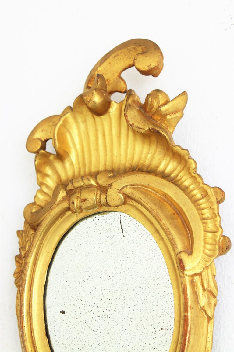 Pair of Art Nouveau Left and Right Gold Leaf Giltwood Mini Sized Mirrors For Sale 6