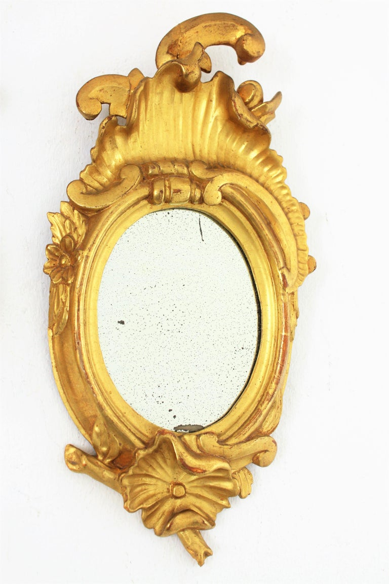 Wood Pair of Art Nouveau Left and Right Gold Leaf Giltwood Mini Sized Mirrors For Sale