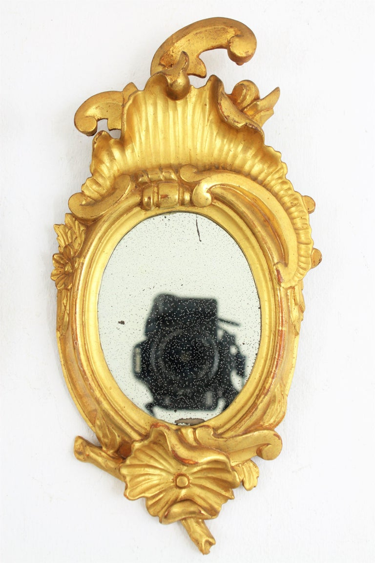 Pair of Art Nouveau Left and Right Gold Leaf Giltwood Mini Sized Mirrors For Sale 1