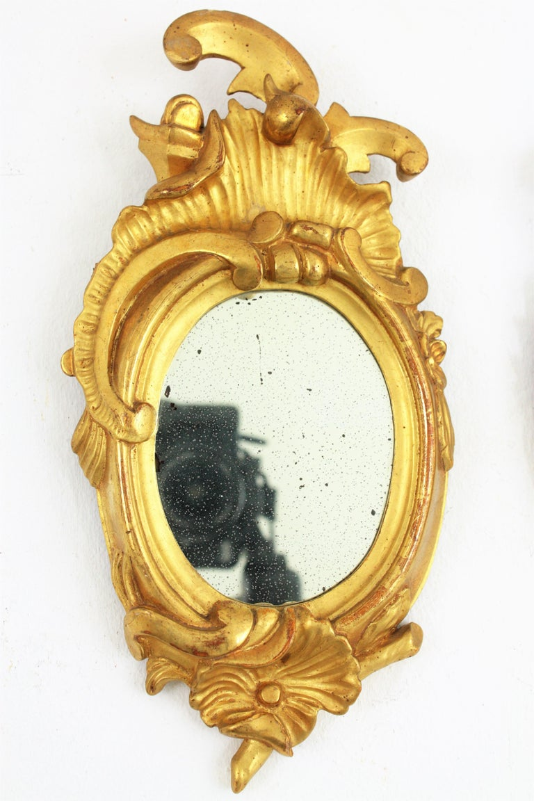 Pair of Art Nouveau Left and Right Gold Leaf Giltwood Mini Sized Mirrors For Sale 2