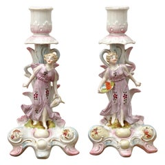 Pair of Art Nouveau Lilac and Pink Porcelain Ladies Candlesticks