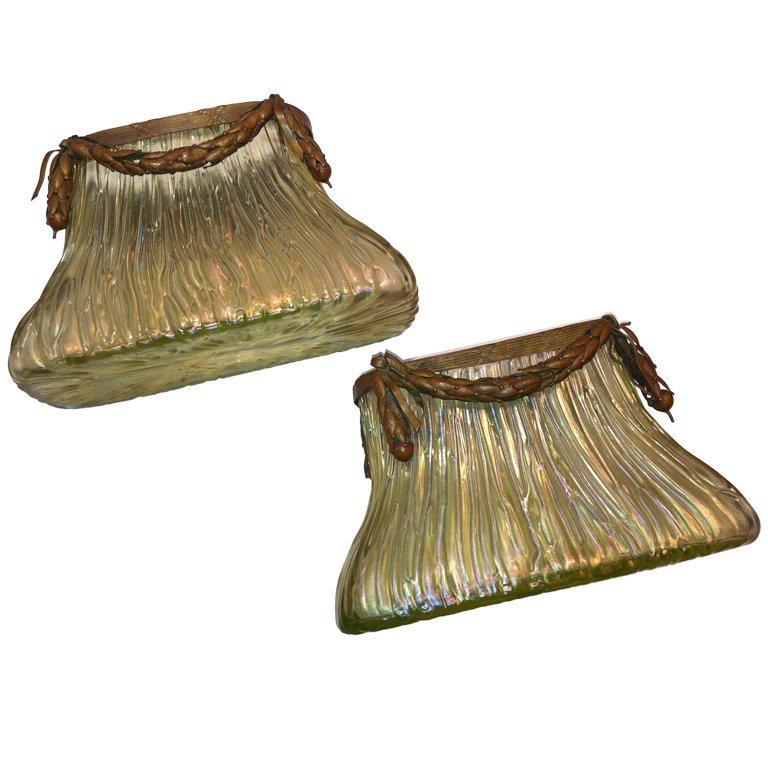 Pair of Art Nouveau Loetz Bronze Mount Vases