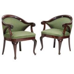 Pair of Art Nouveau Mahogany Armchairs, 1920s
