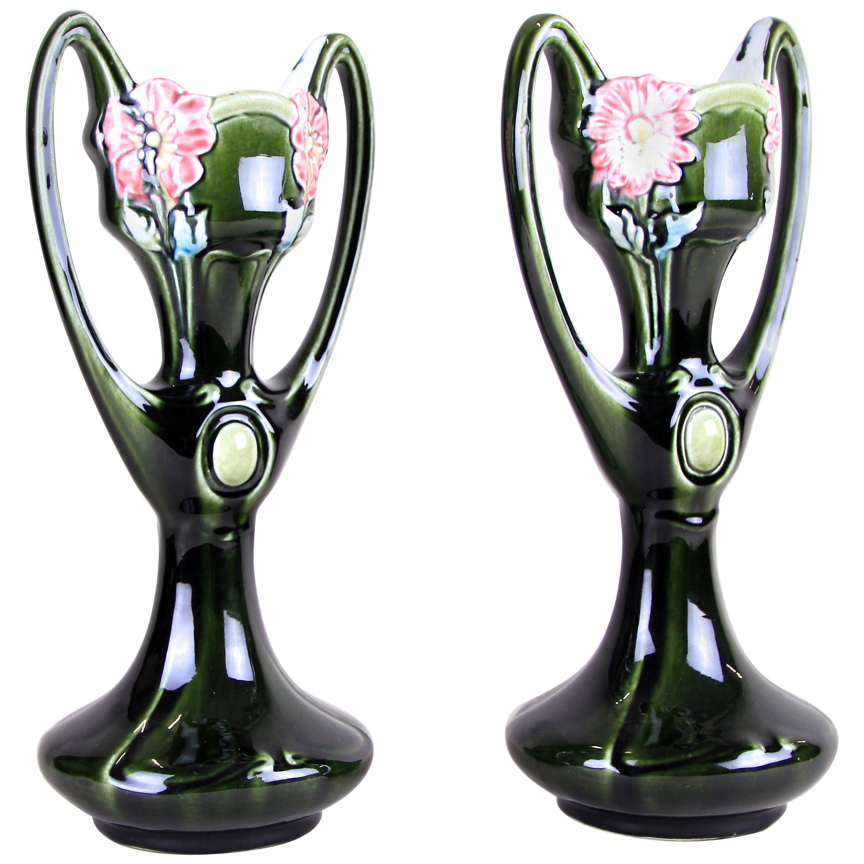 Pair of Art Nouveau Majolica Vases by J. Bernard De Bruyne, France, circa 1910