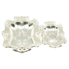 Pair of Art Nouveau Matched Silver Plate Serving Dishes Bowls with Women's Faces