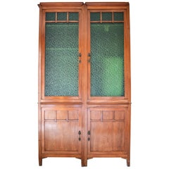 Pair of Art Nouveau Modular Bookcases, Cherry Wood and Stained Glass, 1910s