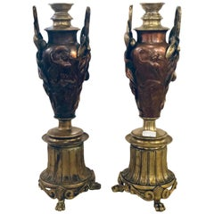 Pair of Art Nouveau Neoclassical Bronze and Metal Figural Twin Handle Vases