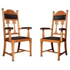 Pair of Art Nouveau Oak High Back Armchairs