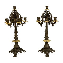 Pair of Art Nouveau of 6 Branch Bronze Effect and Gilt Brass Candelabras