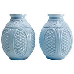 Pair of Art Nouveau Opaline Glass Vases in Baby Blue, Portieux, France