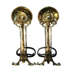 Pair of Art Nouveau Period Brass and Iron Fire Dogs or Andirons