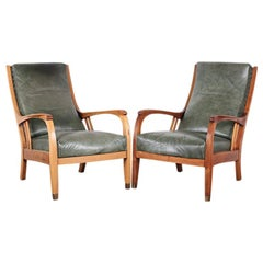 Pair of Art Nouveau Period Carved Mahogany Lounge Chairs Club Chairs
