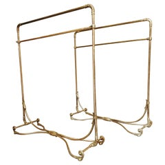 Pair of Art Nouveau Period Large Brass Clothing Rack