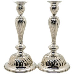 Pair of Art Nouveau Silver Candlesticks, Vienna, circa 1900