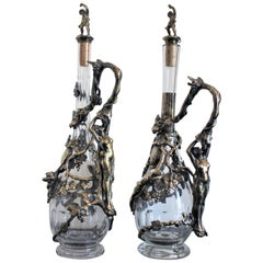 Pair of Art Nouveau Silver Plated Decanters with Nude Female & Vine Decoration