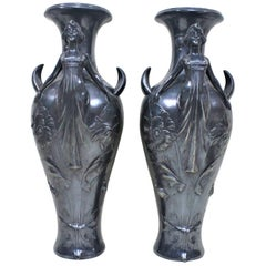 Pair of Art Nouveau Silver Plated Vases with Stylized Female Figures