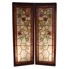 Pair of Art Nouveau Stained Glass Signed by Jacques Gruber