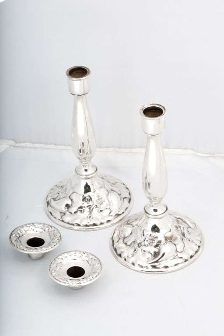 19th Century Pair of Art Nouveau Sterling Silver Candlesticks For Sale