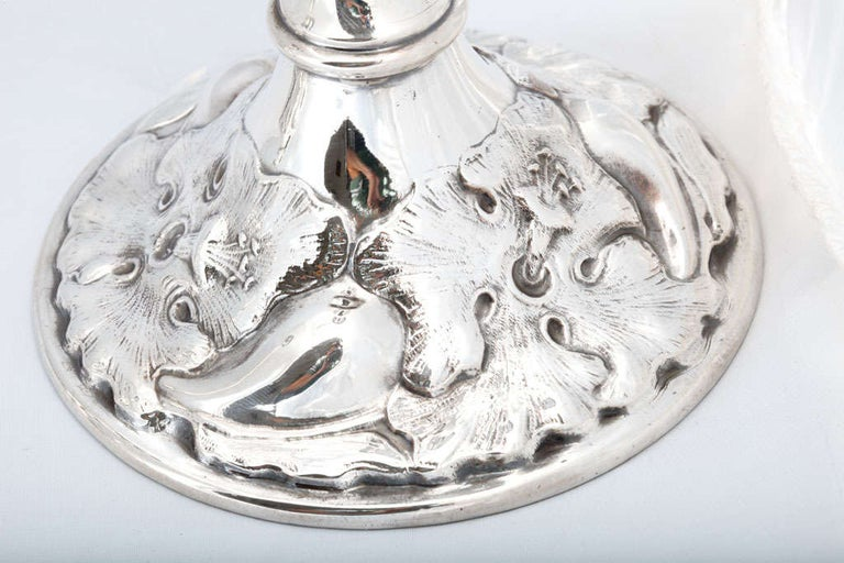 Pair of Art Nouveau Sterling Silver Candlesticks For Sale 3
