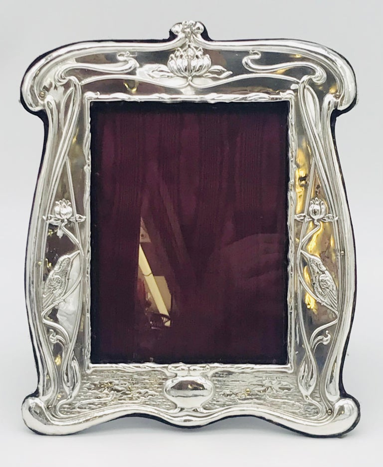 English Pair of Art Nouveau Sterling Silver Photograph Frames For Sale