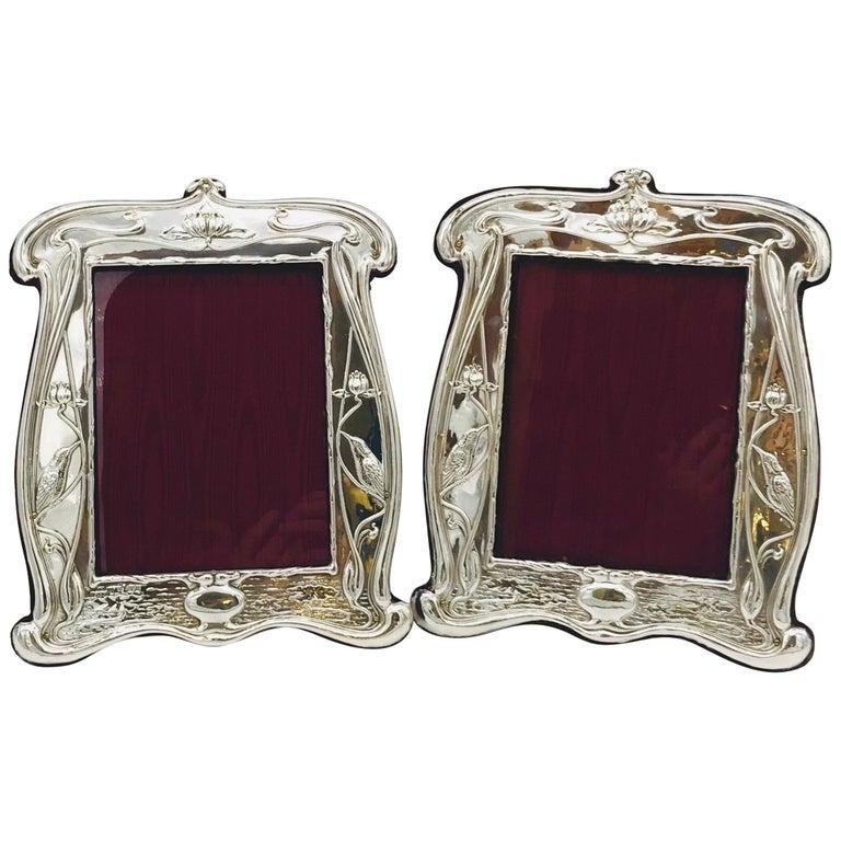 Pair of Art Nouveau Sterling Silver Photograph Frames For Sale