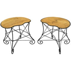 Pair of Art Nouveau Style Stool Bench Seats with Scrolling Wrought Iron Frame