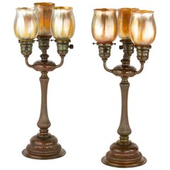 """Pair of Art Nouveau """"Three Light"""" Table Lamps by Tiffany Studios"""