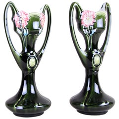 Pair of Art Nouveau Vases by J. Bernard De Bruyne, France, circa 1910