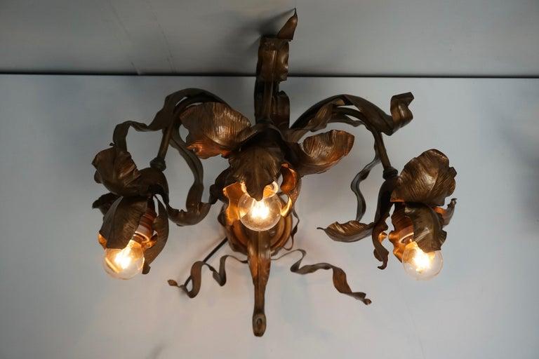 Pair of Art Nouveau Wall Lights, Sconces Belgium For Sale 5
