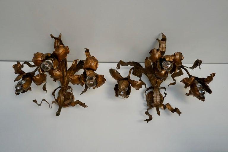Brass Pair of Art Nouveau Wall Lights, Sconces Belgium For Sale