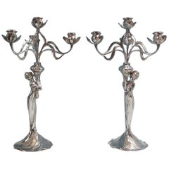 Pair of Art Nouveau WMF 4-Branch Maiden Candelabra