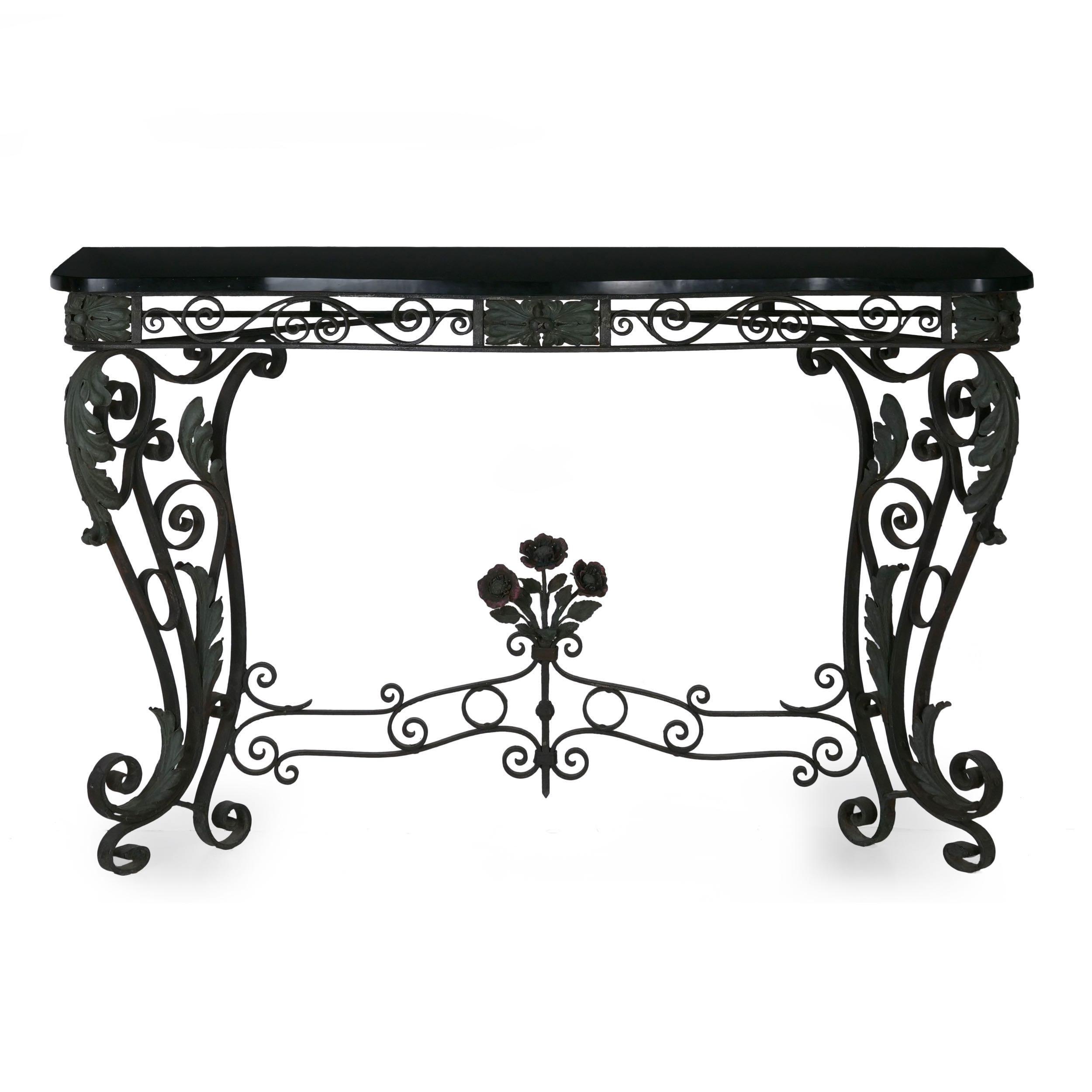 Magnificent Pair Of Art Nouveau Wrought Iron Antique Black Stone Console Tables Inzonedesignstudio Interior Chair Design Inzonedesignstudiocom