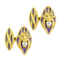 Pair of Art Nouveau Yellow Gold and Enamel Cufflinks