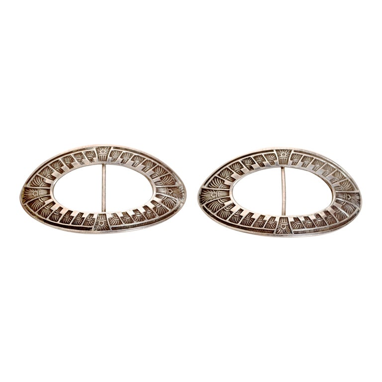 Pair of Art Noveau Antique Sterling Silver Shoe Buckles c1890 by William Kerr For Sale
