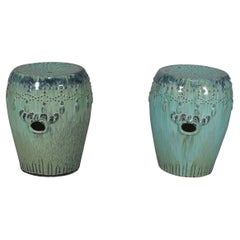 Pair of Art Pottery Glazed Garden Seats with Foliate Handles, India